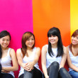 Four asian chinese girls in various poses — Photo