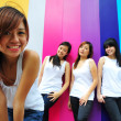 Four asian chinese girls in various poses — Foto Stock