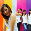 Four chinese asian girls having a great time outdoors — Stock Photo #6544672