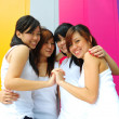 Four chinese asian girls having a great time outdoors — Stock Photo