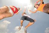 3 children having fun outdoors under the sun — Stock Photo