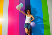 Asian Chinese Cheer Leader in colored background — Stock Photo
