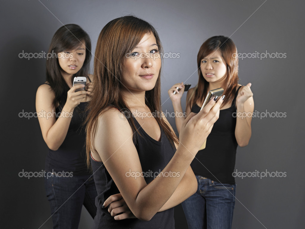 Useful for describing telecommunications amongst girls and their peers — Stock Photo #6547702