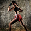 Asian Chinese Thai Girl in various Muay Thai Sports pose - Stock Photo