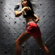 Asian Chinese Thai Girl in various Muay Thai Sports pose — Stock Photo