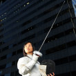 Asian chinese fencer in corporate setting — Stock Photo