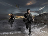 Asian chinese soldier in various pose — Stock Photo