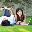 Royalty-Free Stock Photo: Asian couple spending time outdoor with computer