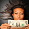 Asian chinese woman with the US Dollar bill — Stok fotoğraf