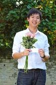 Asian Man preparing a proposal — Stock Photo