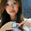 Asian chinese lady showing that time is important — ストック写真
