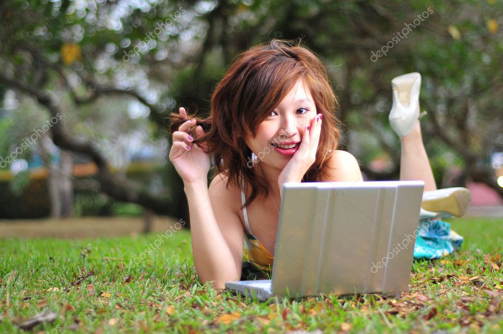 Suitable to show mobile computing outdoors — Stock Photo #6723640