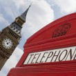 London telephone with Big Ben all focused - Stock Photo
