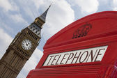 London telephone with Big Ben all focused — Stock Photo