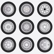 Stock Vector: Vector alloy wheels