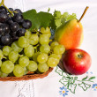 Stock Photo: Grapes, apple and pear