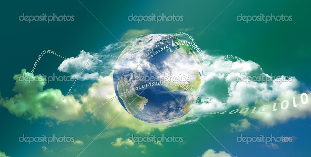 Cloud computing technology with great colors in panoramic view — Stock Photo #6347898