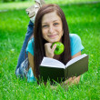Woman reads book - Stock Photo