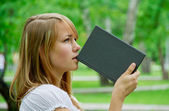 Student in the park — Stock Photo