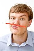 Retrato de um gerente com um lápis — Fotografia Stock