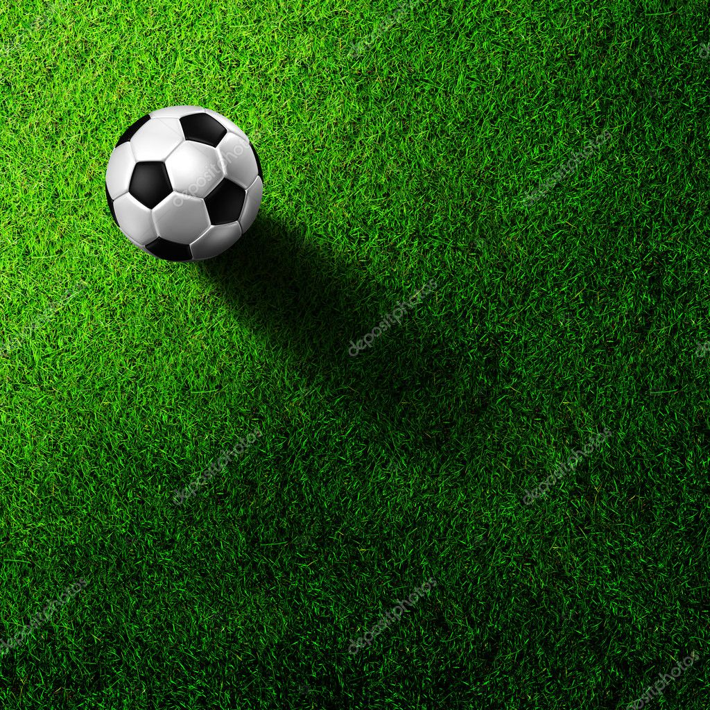 3d rendering of soccer football on grass field — Stock Photo #6234266