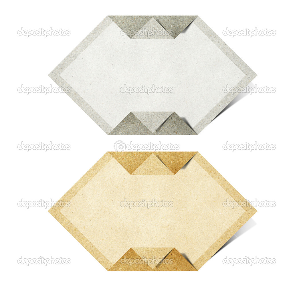 Origami tag recycled paper craft stick on white background — Stock Photo #6237377