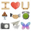 I love tag recycled paper craft stick on white background — Stock Photo