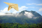 Aircraft recycled paper Travel on view photo background — Stock Photo
