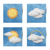 Weather recycled paper craft stick on grunge paper background — Stock Photo
