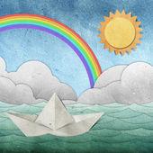Origami kağıt tekne geri dönüştürülmüş kağıt el sanatları — Stok fotoğraf
