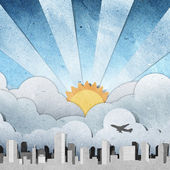 Sunset and sunrise city panorama silhouettes recycled paper craft — 图库照片