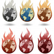 Global warming icon recycled paper stick on white background - Foto Stock
