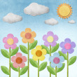 Stock Photo: Flower recycled paper background