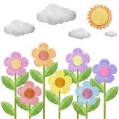 Flower gerecycleerd papier achtergrond — Stockfoto