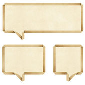 Bubble talk origami recycled paper craft stick on white background — Stock Photo