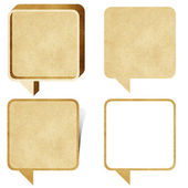 Bubble talk tag recycled paper craft stick on white background — Stock Photo