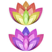 Flower origami recycled paper craft stick on white background — Stock Photo