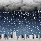 Stad panorama silhouetten gerecycleerd papier ambachtelijke stok op witte achtergrond — Stockfoto