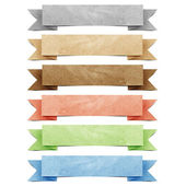 Header origami tag recycled paper craft stick on white background — Stok fotoğraf
