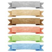 üstbilgi origami etiket geri dönüştürülmüş kağıt el sanatları sopa beyaz zemin üzerine — Stok fotoğraf