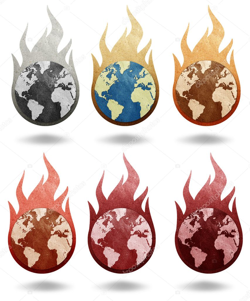 Global warming icon recycled paper stick on white background — Stock Photo #6377937
