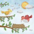 Bird recycled paper craft stick on white background — Stock Photo #6380315