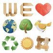 We love tag recycled paper craft stick on white background — Stock Photo