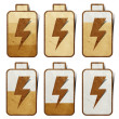 Battery Charging icon recycled paper craft background — Stock Photo