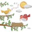 Bird recycled paper craft stick on white background — Stock Photo #6380801
