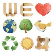 Nos encanta la etiqueta reciclado de papel artesanal palo sobre fondo blanco — Foto de Stock
