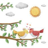 Uccello riciclato carta artigianale bastone su sfondo bianco — Foto Stock
