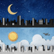 City panorama silhouettes recycled paper craft — Stock Photo