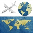 Airplane travel around the globe recycled paper craft : Data source: NASA — Stock Photo