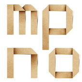 Origami alphabet letters recycled paper craft stick on white background — Stock Photo